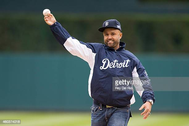 Former Detroit Tigers player Placido Polanco throws out the ceremonial first pitch prior to Game 3 of the ALDS between the Detroit Tigers and the...