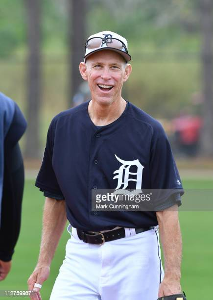 Former Detroit Tigers shortstop and Baseball HallofFamer Alan Trammell looks on during the Spring Training workout at the TigerTown Facility on...