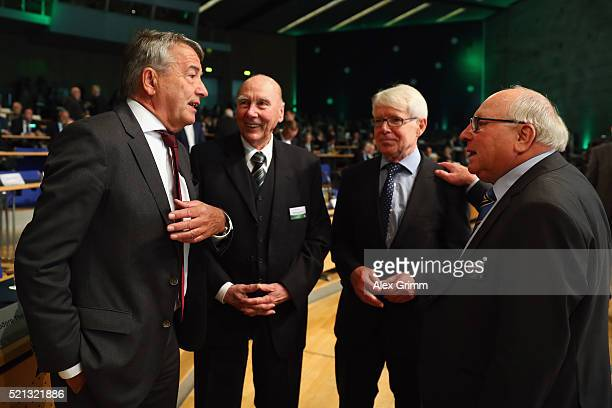 Former DFB President Wolfgang Niersbach Horst Eckel Vice President Reinhard Rauball and Uwe Seeler chat during the extraordinary DFB Bundestag at...