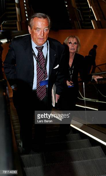 Former DFBPrasident Gerhard MayerVorfelder arrives with his wife Margit during the second day of the 2007 UEFA Congress at the Congress Center on...