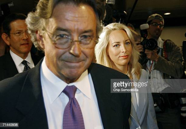 Former diplomat Joe Wilson and his wife retired CIA employee Valerie Plame Wilson leave a press conference where they announced a lawsuit against...