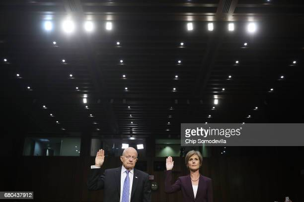 Former Director of National Intelligence James Clapper and former US Deputy Attorney General Sally Yates are sworn in before testifying to the Senate...