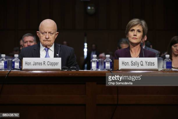 Former Director of National Intelligence James Clapper and former US Deputy Attorney General Sally Yates testify before the Senate Judiciary...