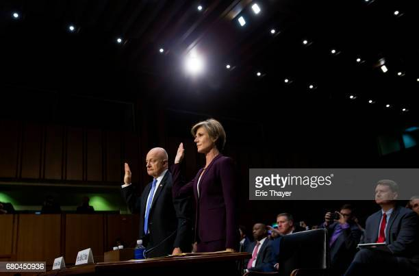 Former Director of National Intelligence James Clapper and former US Deputy Attorney General Sally Yates are sworn in to testify before the Senate...
