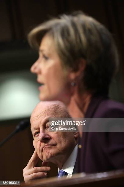 Former Director of National Intelligence James Clapper and former acting US Attorney General Sally Yates testify before the Senate Judiciary...