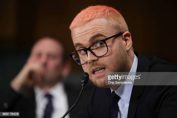 Former director of research for Cambridge Analytica Christopher Wylie testifies before the Senate Judiciary Committee in the Dirksen Senate Office...