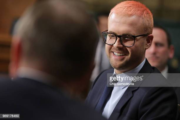 Former director of research for Cambridge Analytica Christopher Wylie prepares to testify before the Senate Judiciary Committee in the Dirksen Senate...