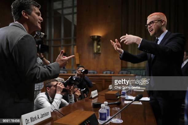 Former director of research for Cambridge Analytica Christopher Wylie talks with journalists before testifying to the Senate Judiciary Committee in...