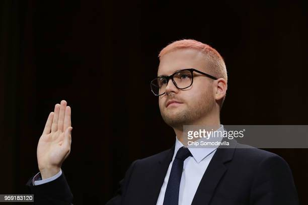 Former director of research for Cambridge Analytica Christopher Wylie is sworn in before testifying to the Senate Judiciary Committee in the Dirksen...