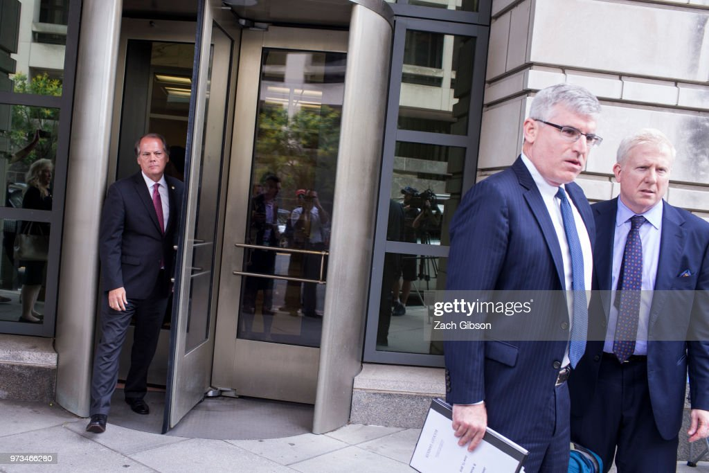 Former Director of Security for the Senate Intelligence Committee James Wolfe (L) leaves U.S. District Court on June 13, 2018 in Washington, DC. Wolfe, who is charged with lying to the FBI about his contacts with reporters, pleaded not guilty.