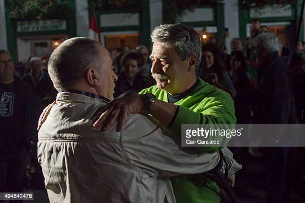 Former director of the banned newspapper 'Egin', Javier Salutregi greets Basque pro-independence politician Karmelo Landa in the town of Ea after he...