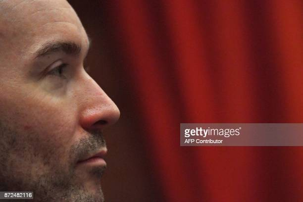 Former director of the French Alliance in Irkutsk Yoann Barbereau looks on during a press conference on November 10 2017 in Nantes western France...