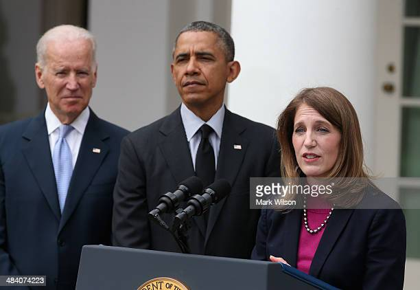 Former Director of the White House Office of Management and Budget Sylvia Mathews Burwell speaks after US President Barack Obama nominated her for US...