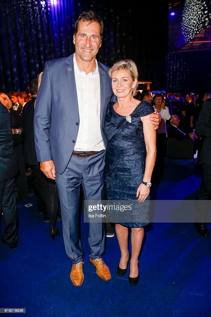 Former discus thrower Lars Riedel and german national woman football team trainer Silvia Neid during the Goldene Henne after show party on October 28, 2016 in Leipzig, Germany.