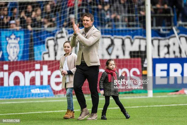 Former Djurgardens IF captain Kim Kallstrom takes a lap of honor with his daughters Zoe and Bianca before an Allsvenskan match between Djurgardens IF...