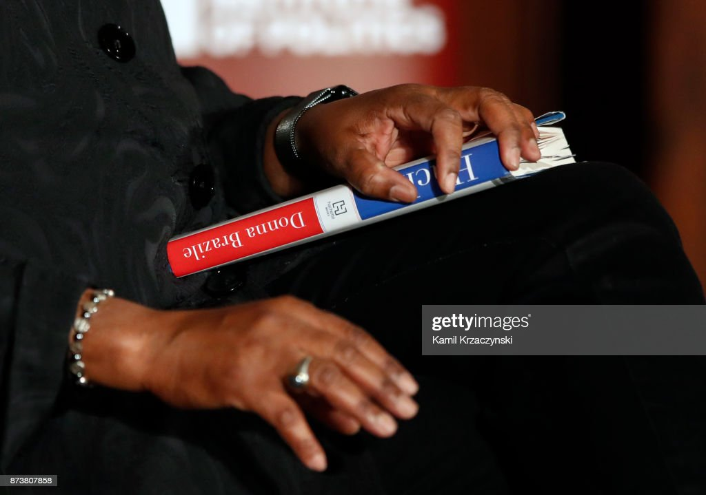 Former DNC Chair Donna Brazile holds her book Hacks while she speaks at The University of Chicago on November 13, 2017 in Chicago, Illinois. Brazile recently released her book 'Hacks: The Inside Story,' an account of her time as the interim chairperson of the Democratic National Committee during the 2016 presidential campaign.