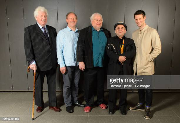 Former Doctor Who actors Tom Baker Peter Davison Colin Baker Sylvester McCoy and Matt Smith at the Doctor Who Official 50th Anniversary Celebration...