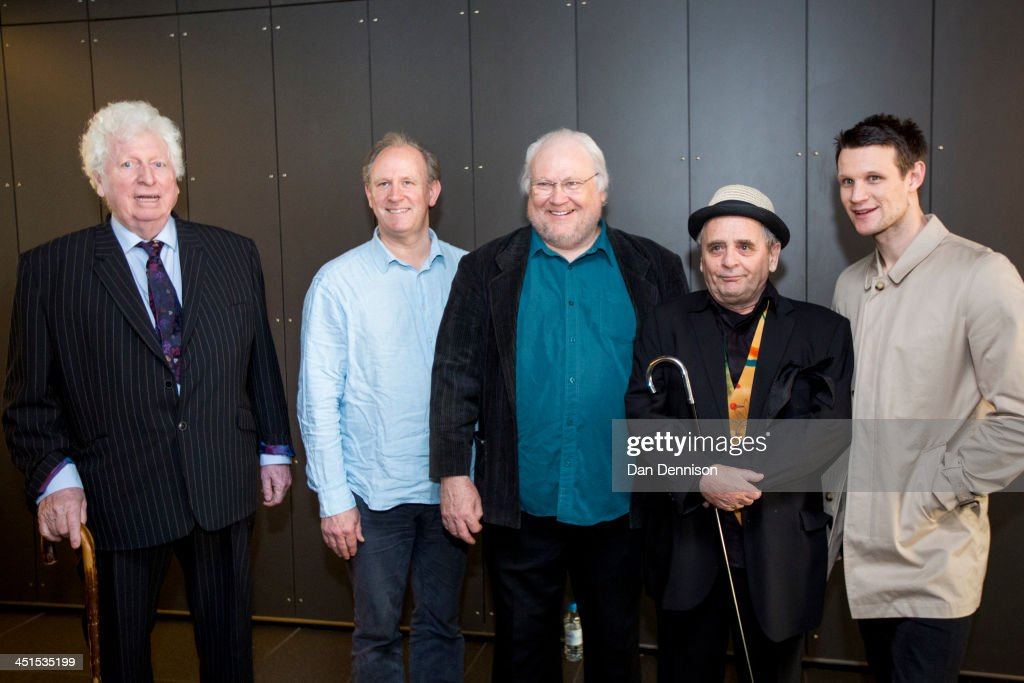 Former 'Doctors' form the classis series 'Doctor Who' (L-R) Tom Baker (1974-1981), Peter Davison (1981-1984), Colin Baker (1984-1986), Sylvester McCoy (1987-1989, 1996) and current Doctor Matt Smith (2010-present) pose at the 'Doctor Who 50th Celebration' event in the ExCeL centre on November 22, 2013 in London, England. The sold-out three-day event in the ExCeL London convention centre celebrates 50 years of the show which has seen 11 actors play the role of Doctor Who and receives a worldwide cult following.