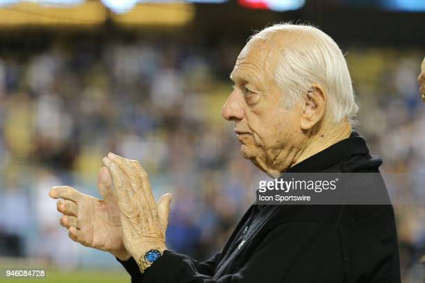 Former Dodger great Tommy Lasorda offers applause the military soldier feature of the day in the game between the Arizona Diamondbacks and the Los...