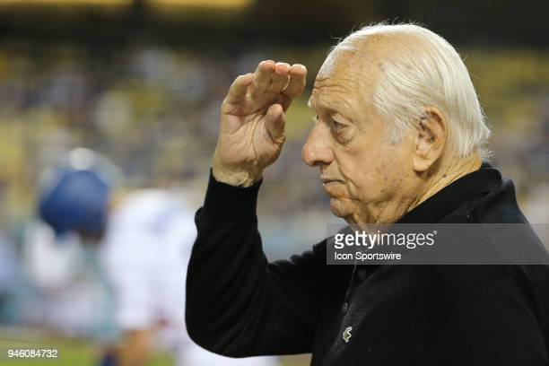 Former Dodger great Tommy Lasorda salutes the military soldier feature of the day in the game between the Arizona Diamondbacks and the Los Angeles...