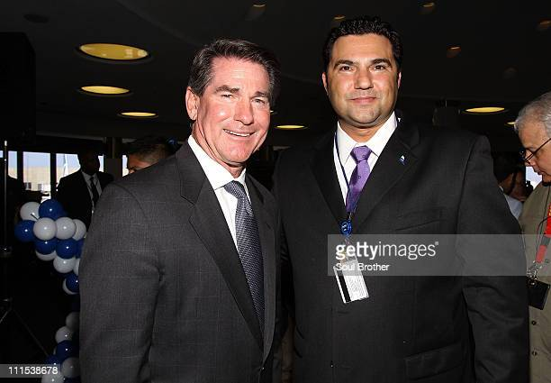 Former LA Dodger Steve Garvey and Alex Battaglia Vice President of Airports for JetBlue attend theJetBlue's More Welcome Aboard LA Inaugural Press...