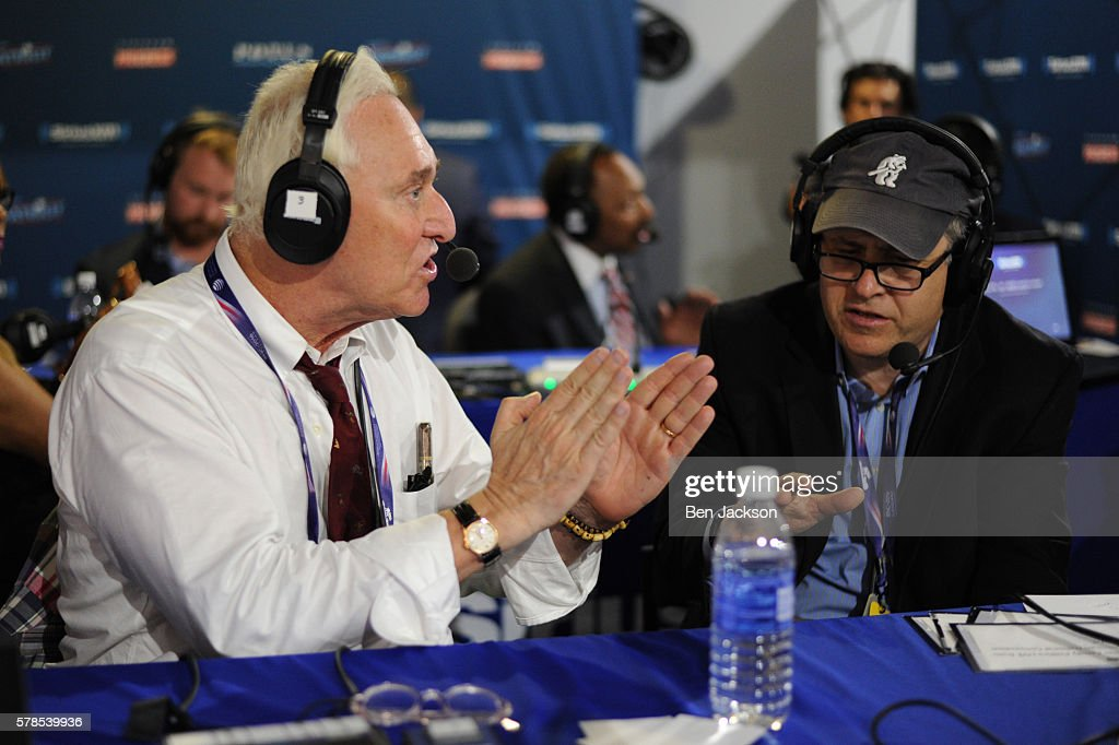 Former Donald Trump Advisor, Roger Stone, debates with Jonathan Alter during an episode of Alter Family Politics on SiriusXM at Quicken Loans Arena on July 20, 2016 in Cleveland, Ohio.