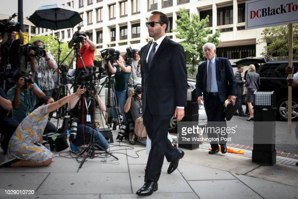 Former Donald Trump presidential campaign foreign policy adviser George Papadopoulos accompanied by his wife Simona Mangiante arrives at federal...
