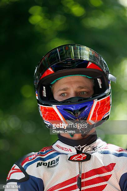 Former double World Motorcycle Champion Casey Stoner waits to ride up the hill at Goodwood on June 27 2015 in Chichester England