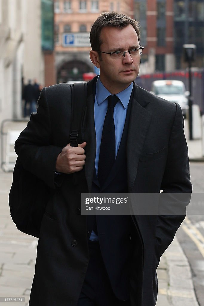 Former Downing Street communications director and News of the World Editor, Andy Coulson leaves The Old Bailey on December 6, 2012 in London, England. Rebekah Brooks, Andy Coulson, Clive Goodman, John Kay and MoD employee Bettina Jordan-Barber have been charged as part of 'Operation Elveden,' the Metropolitan Police's investigation into corrupt payments to police and public officials. They all appeared today at the Old Bailey.