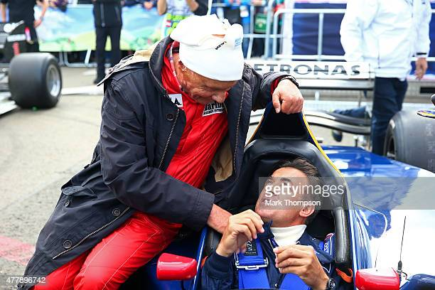 Former drivers Niki Lauda and Jean Alesi speak after qualifying for the Formula One Grand Prix of Austria at Red Bull Ring on June 20 2015 in...