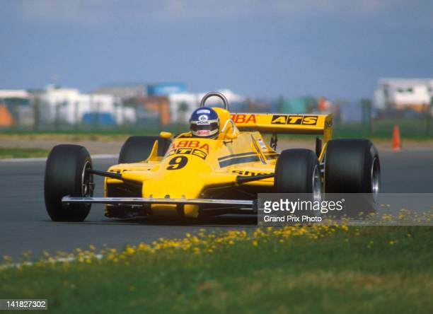 Former drummer for pop group ABBA Slim Borgudd of Sweden drives the Team ATS HG S1 Ford Cosworth V8 to sixth place during the XXXIV Marlboro British...