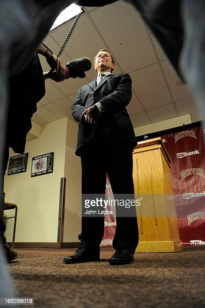 Former DU hockey coach George Gwozdecky addresses the media during a news conference April 2 2013 at Magnuss Arena to discuss the school firing him...