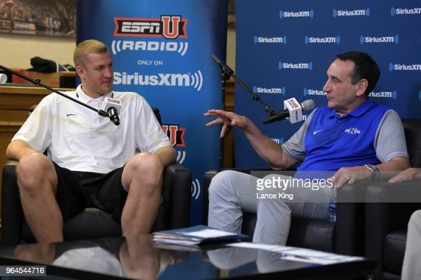 Former Duke basketball player Mason Plumlee sits down for SiriusXM's Town Hall With Hall Of Fame Coach Mike Krzyzewski at Bill Brill Media Room in...