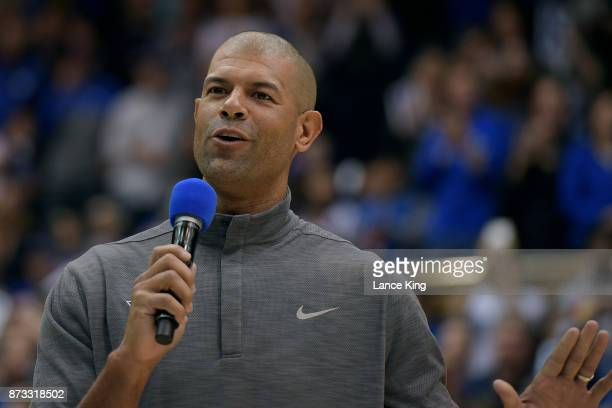 Former Duke basketball player Shane Battier addresses the fans in honor of head coach Mike Krzyzewski following Duke's 9969 win against the Utah...