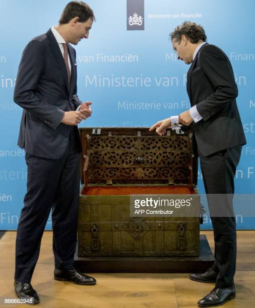 Former Dutch Finance Minister Jeroen Dijsselbloem is pictured during the transfer of his ministry to his successor new finance minister Wopke...