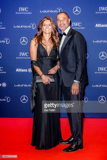 Former Dutch football star and Laureus Ambassador Ruud Gullit and guest attend the Laureus World Sports Awards 2016 on April 18 2016 in Berlin Germany