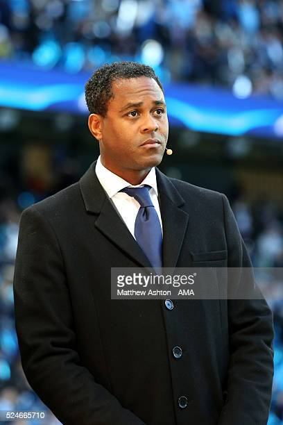 MANCHESTER ENGLAND APRIL 26 Former dutch footballer Patrick Kluivert working for a TV Channel during the UEFA Champions League Semi Final first leg...