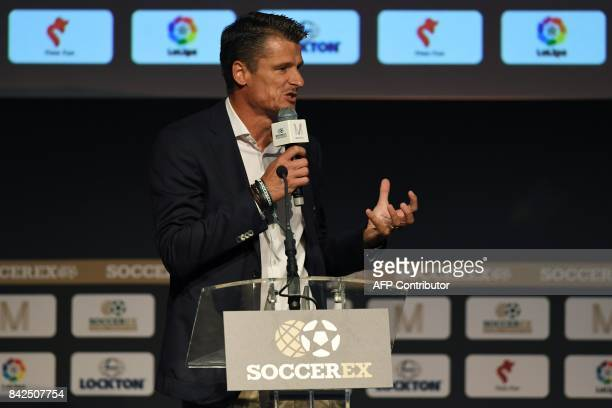 Former Dutch international footballer and comanager of Cruyff Football Wim Jonk speaks duringthe opening session of the Soccerex Global Convention...