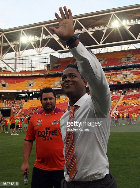 Former Dutch international player Patrick Kluivert waves to fans shortly before the round 25 ALeague match between the Brisbane Roar and Sydney FC at...