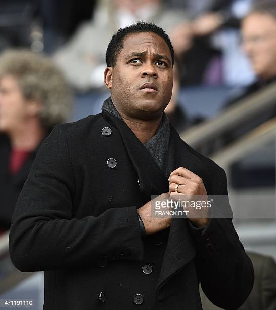 Former Dutch player and Curacao's national football team coach Patrick Kluivert attends the French L1 football match between Paris SaintGermain and...