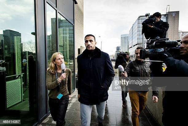 Former DutchMoroccan K1 heavyweight kickboxing champion Badr Hari arrives at the courthouse in Amsterdam Netherlands on January 27 2014 Hari is on...