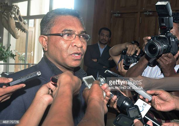 Former East Timor health minister Rui Araujo speaks to journalists after meeting East Timor President Taur Matan Ruak in Dili on February 11 2014...