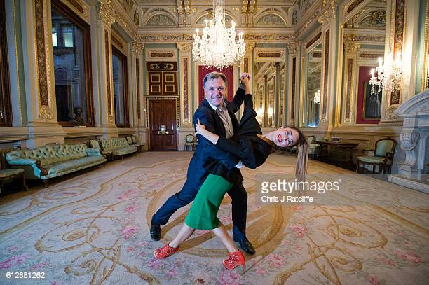 Former Economic Secretary to the Treasury Ed Balls and his dance partner Katya Jones from BBC dance programme Strictly Come Dancing pose for...