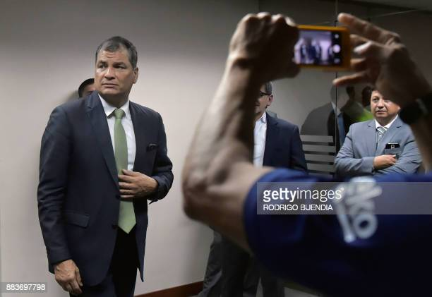 Former Ecuadorean president Rafael Correa arrives at the National Court of Justice in Quito to pay a visit to indicted Ecuadorean VicePresident Jorge...