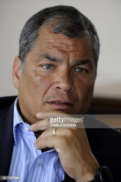 Former Ecuadorean president Rafael Correa speaks during an exclusive interview with AFP in Quito on January 19 2018 Correa warned that the asylum he...