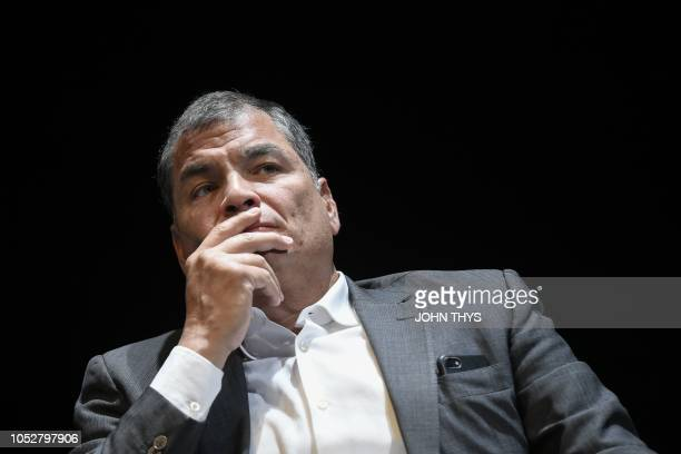 Former Ecuadorian President Rafael Correa attends to a meeting on power and checks and balance at the national theater in Brussels on October 22 2018