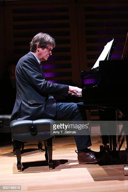 Former Editor and chief of The Guardian Alan Rusbridger rehearses at a Steinway piano before a performance of 'Word And Play Celebrity Christmas...