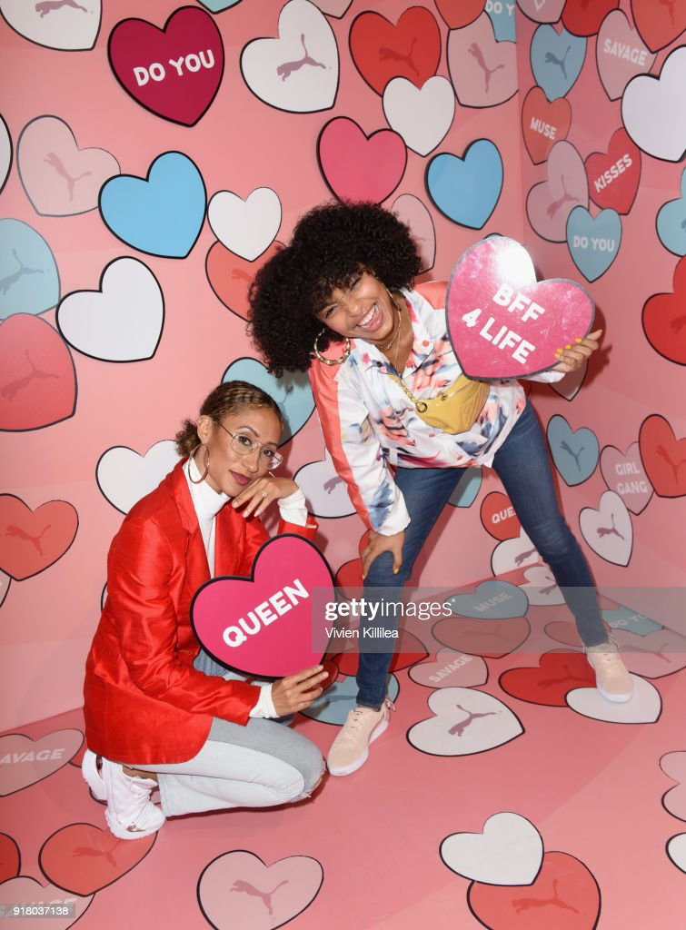 Former Editor-in-chief at Teen Vogue and award winning journalist Elaine Welteroth (L) and actress/model/activist Yara Shahidi attend PUMA Galentine's Day Event with Yara Shahidi and Elaine Welteroth at Siren Studios on February 13, 2018 in Hollywood, California.