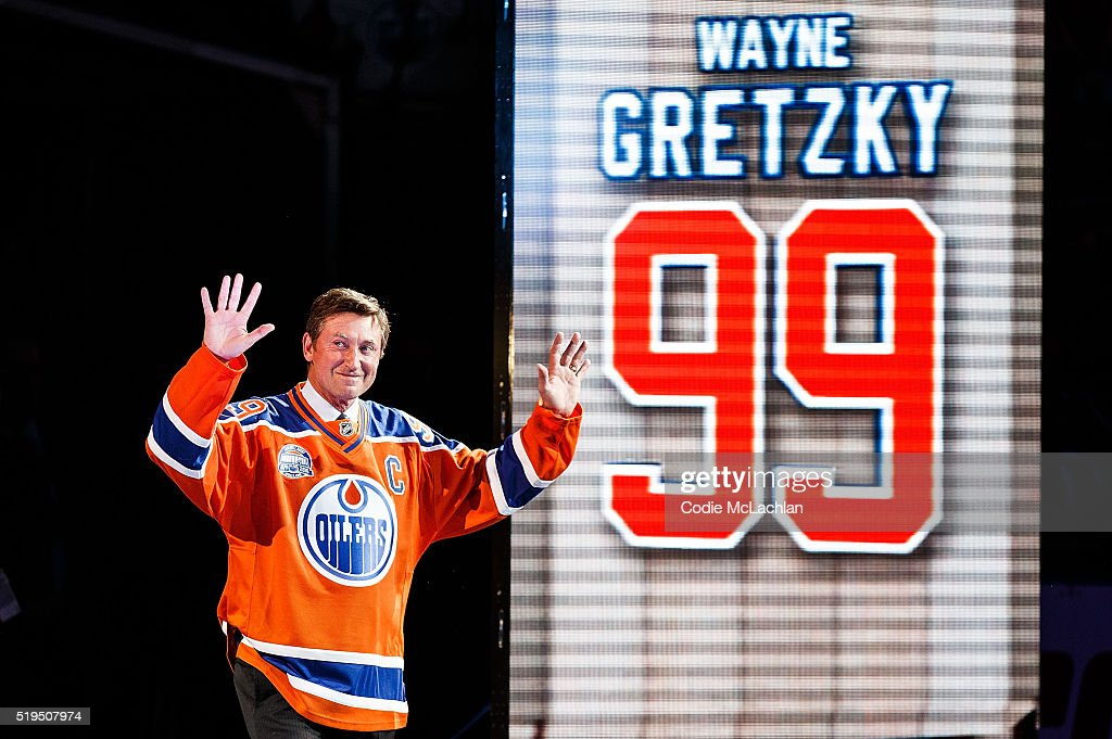 Former Edmonton Oilers forward Wayne Gretzky greets fans during the closing ceremonies at Rexall Place following the game between the Edmonton Oilers and the Vancouver Canucks on April 6, 2016 at Rexall Place in Edmonton, Alberta, Canada. The game was the final game the Oilers played at Rexall Place before moving to Rogers Place next season.
