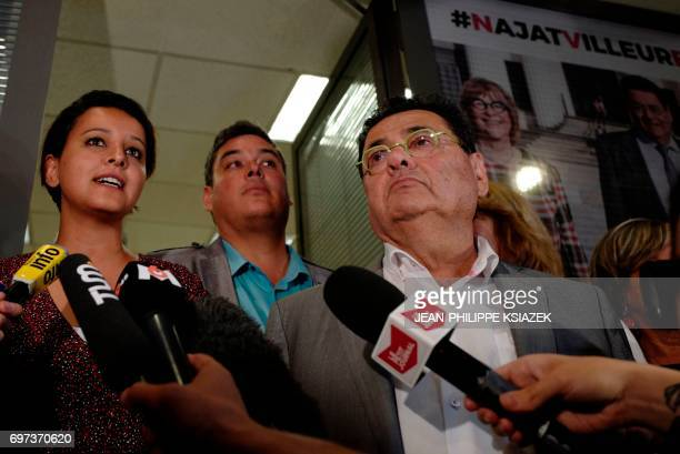 Former education minister candidate of the Socialist party for the legislative elections in the Rhone department Najat VallaudBelkacem flanked by her...